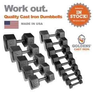Goldens' Cast Iron Dumbbell Full Set 5lb-90lb