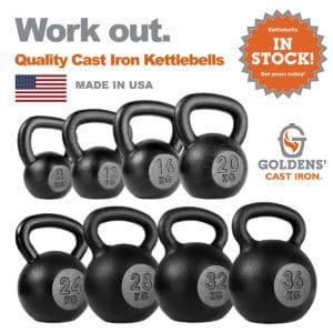 Goldens' Cast Iron Kettlebell Full Set 8kg-36kg
